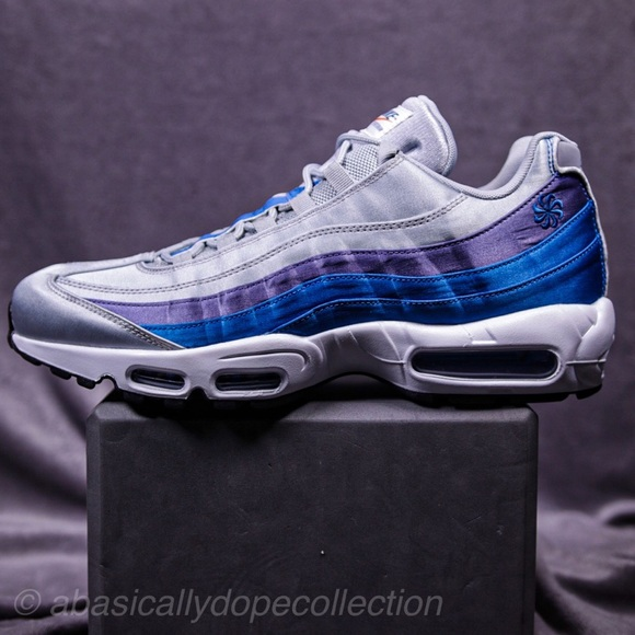 Newest Nike Air Max 95 Pinwheel Wolf Grey Blue Nebula Purple Slate White AJ2018 001 Men's Running Lifestyle Shoes AJ2018 001